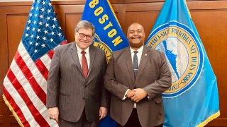 U.S. Attorney General William Barr meets with Boston Police Commissioner William Gross in Boston