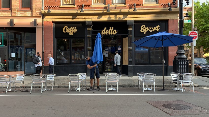 Outdoor dining is set up outside Caffe Dello Sporto in Boston's North End