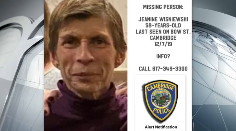 Cambridge police are looking for Jeanine Wisniewski, who was last seen on Dec. 7.