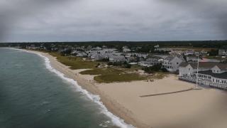 Drone shot of a Cape Cod beach