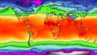 map showing temperature bands around the world