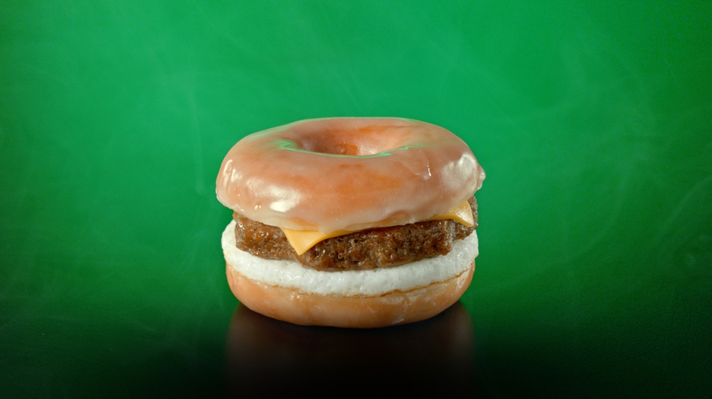"The ""Beyond D-O-Double G Sandwich,"" boasting a plant-based sausage patty with egg and cheese between a sliced glazed donut, is available between January 13 to January 19."