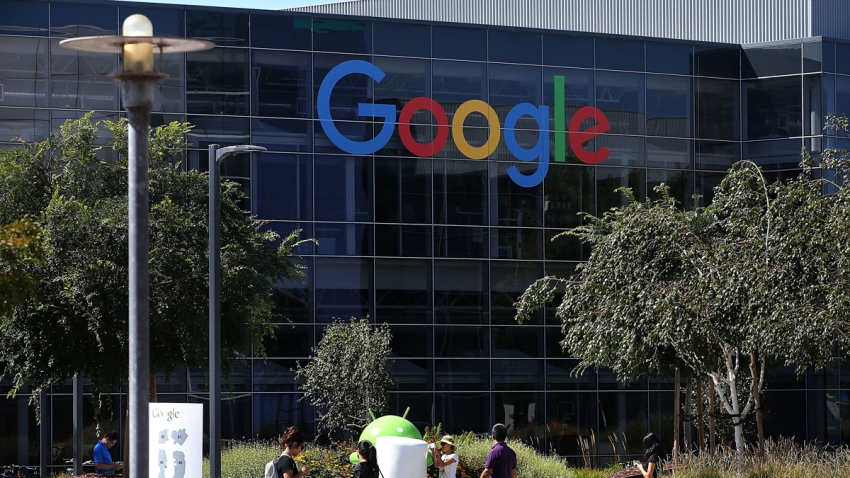 The Google logo is displayed at the Google headquarters on September 2, 2015 in Mountain View, California.