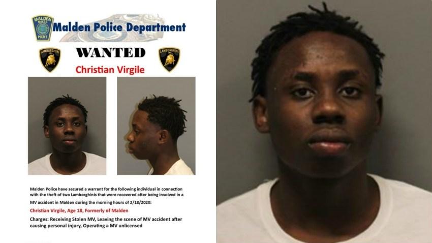 Wanted poster for Malden Lamborghini theft suspect