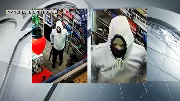 Manchester police are searching for an armed robbery suspect who robbed the Shell gas station on Hanover St.