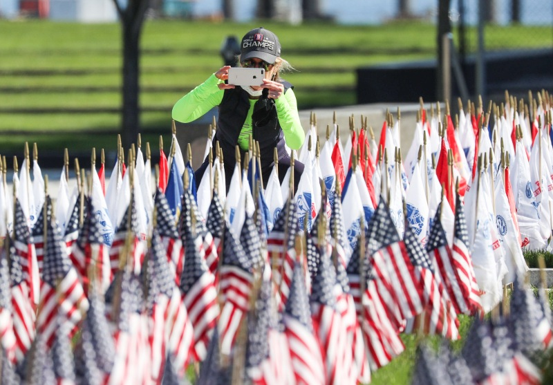 PHOTOS: Flags Adorn Boston's Seaport District to Honor Fallen Veterans