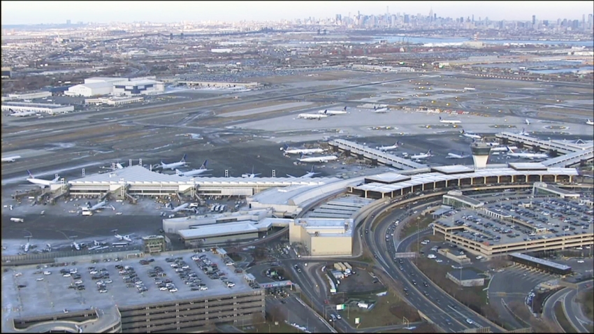 An aerial view showing terminals, buildings and planes of of Newark Liberty International Airport in Newark, New Jersey