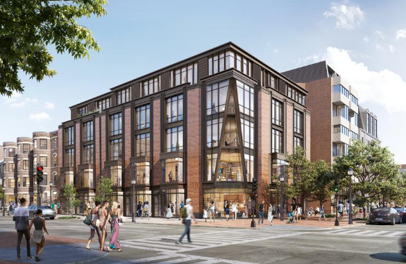 An architect's rendering of the new five-story office and retail building proposed for 149 Newbury St. in Boston