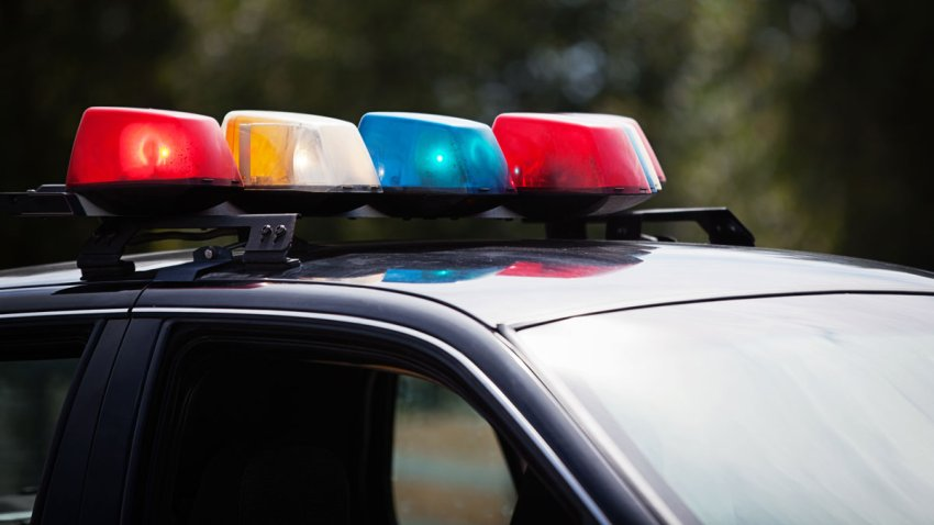 Close up of lights on a black police car.