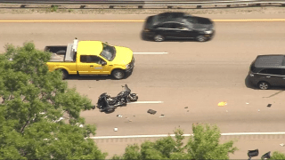 The scene of a deadly motorcycle crash in Randolph, Massachusetts