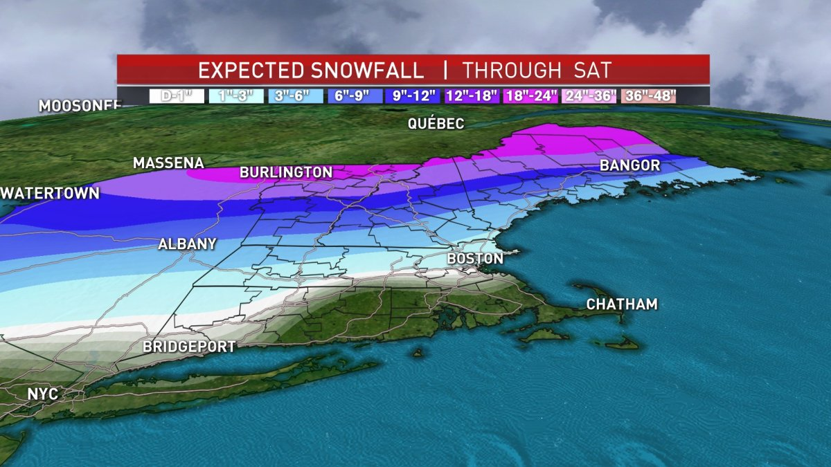 2-Day Storm Could Mean 6-12 Inches of Snow for Parts of New England, Even More Up North