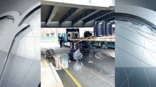 A truck carrying transformers struck a bridge on Storrow Drive on Sunday morning.