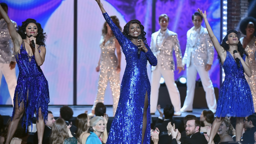 LaChanze and the cast of Summer: The Donna Summer Musical perform onstage during the 72nd Annual Tony Awards at Radio City Music Hall on June 10, 2018 in New York City. The show this year has been postponed.