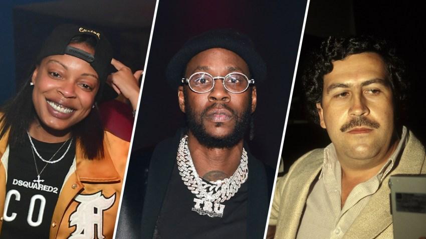 "Mychel ""Snoop"" Dillard (left), 2 Chainz (center) and Pablo Escobar (right)."