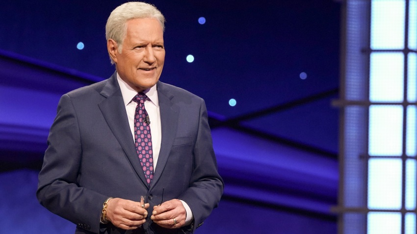 """In this file photo, Alex Trebek is seen on the set of """"Jeopardy!"""""""