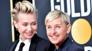 BEVERLY HILLS, CALIFORNIA - JANUARY 05: (L-R) Portia de Rossi and Ellen DeGeneres attends the 77th Annual Golden Globe Awards at The Beverly Hilton Hotel on January 05, 2020 in Beverly Hills, California.