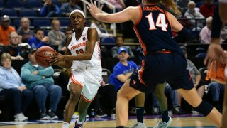 GREENSBORO, NC - MARCH 05: Syracuse Orange guard Gabrielle Cooper (11) drives the lane during the ACC Women's Tournament game between the Syracuse Orange and the Virginia Cavaliers at Greensboro Coliseum on March 5, 2020 in Greensboro, NC.
