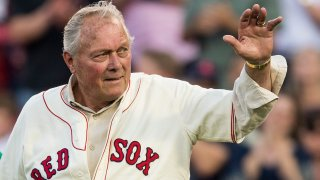 Mike Ryan of the 1967 Boston Red Sox being introduced during a 50-year anniversary ceremony at Fenway Park