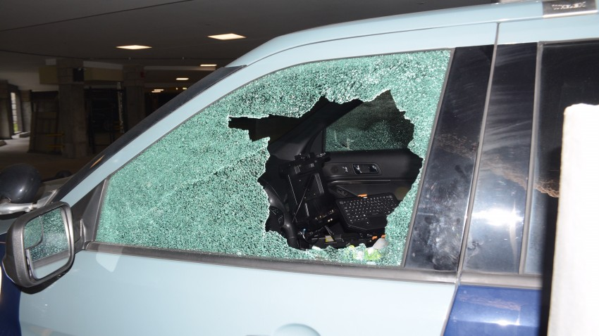 Massachusetts State Police Cruiser Damaged