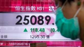 In this July 20, 2020, file photo, a man wearing a face mask walks past a bank's electronic board showing the Hong Kong share index at Hong Kong Stock Exchange.