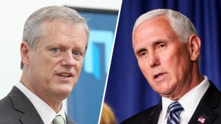 Massachusetts Governor Charlie Baker, left, and Vice President Mike Pence are expected to meet in Nantucket over the weekend.