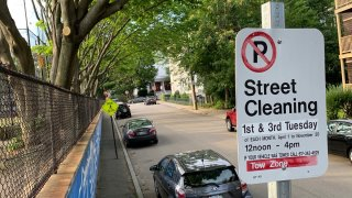 A street cleaning sign in Boston