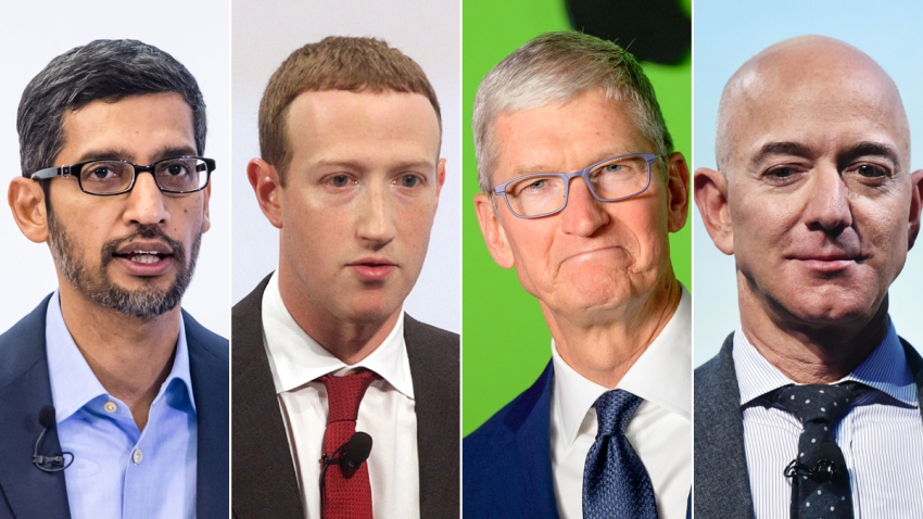 From left: Sundar Pichai, CEO of Alphabet; Mark Zuckerberg, CEO and founder of Facebook; Tim Cook, CEO of Apple; Jeff Bezos, CEO and founder of Amazon. The four figureheads of some of the world's biggest tech companies testified before Congress on July 29, 2020, in response to an antitrust hearing.