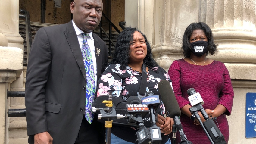 Tamika Palmer, mother of Breonna Taylor, addresses the media in Louisville, Ky. on Thursday, Aug. 13, 2020. Five months after her daughter was shot to death by police, Palmer said she is trying to be patient while waiting to hear if the officers will be charged.