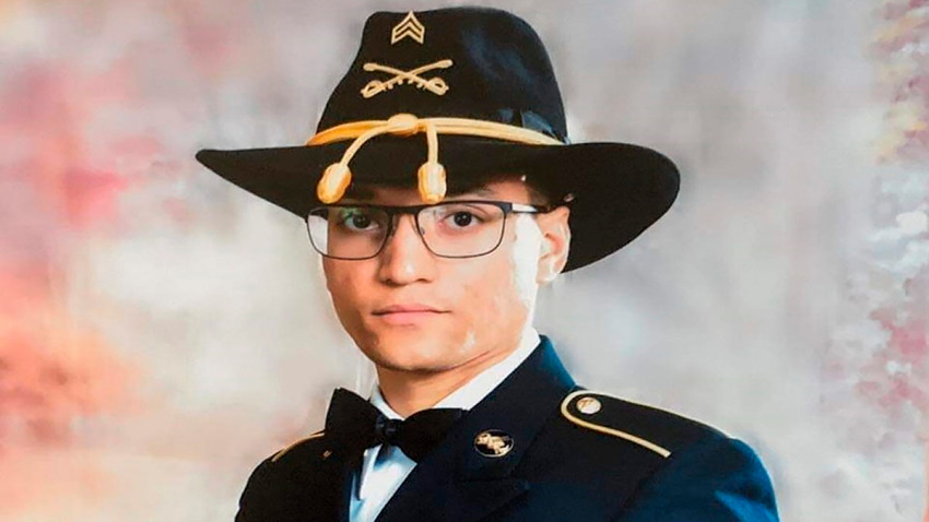 """This photo provided by the U.S. Army shows Sgt. Elder Fernandes. Fort Hood officials have issued a missing soldier alert for Fernandes. In the alert issued Thursday, Aug. 20, 2020, officials said the 23-year-old soldier with the 1st Cavalry Division is the subject of an active search and that their """"primary concern is to ensure his safety and well-being."""""""