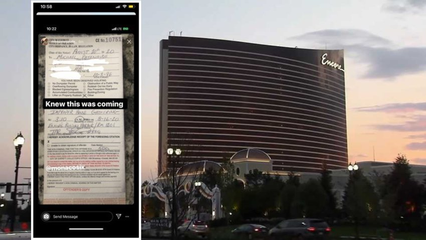 A $500 fine issued for a large party at Encore Boston Harbor (pictured in the background)
