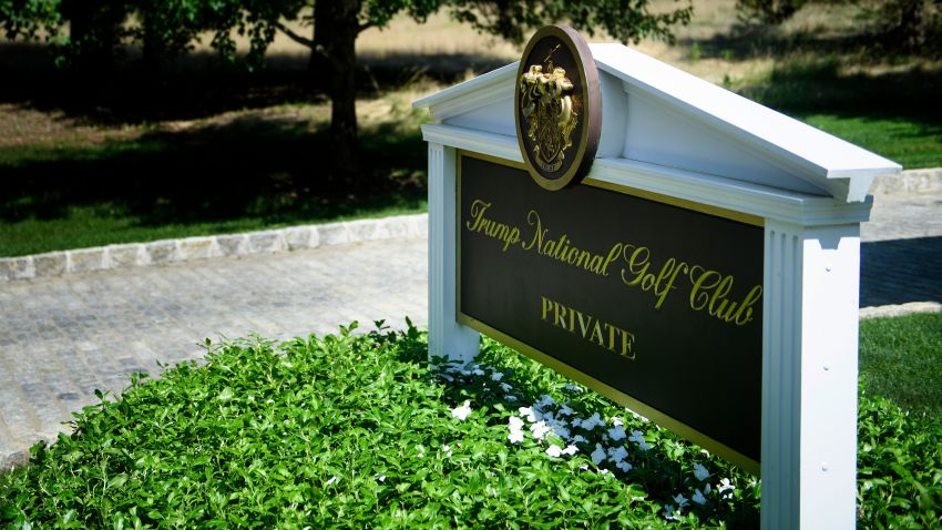 In this Aug. 9, 2018, file photo, a sign is seen at an entrance to the Trump National Golf Club in Bedminster, New Jersey.
