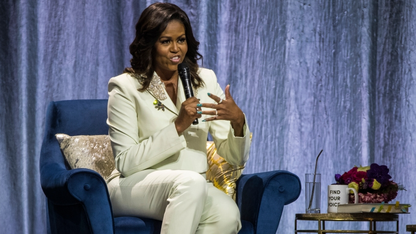 "In this file photo, Michelle Obama speaks during her ""Becoming: An Intimate Conversation with Michelle Obama"" Tour at the Ericsson Globe Arena on April 10, 2019 in Stockholm, Sweden."