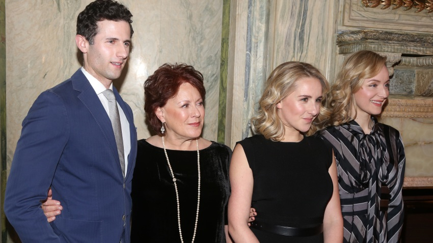 "Roe Hartrampf, Judy Kaye, Jeanna de Waal and Erin Davie pose at a Meet & Greet for the new cast and creative team of the new musical ""Diana"" on Broadway at The Lotte New York Palace on January 30, 2020 in New York City."