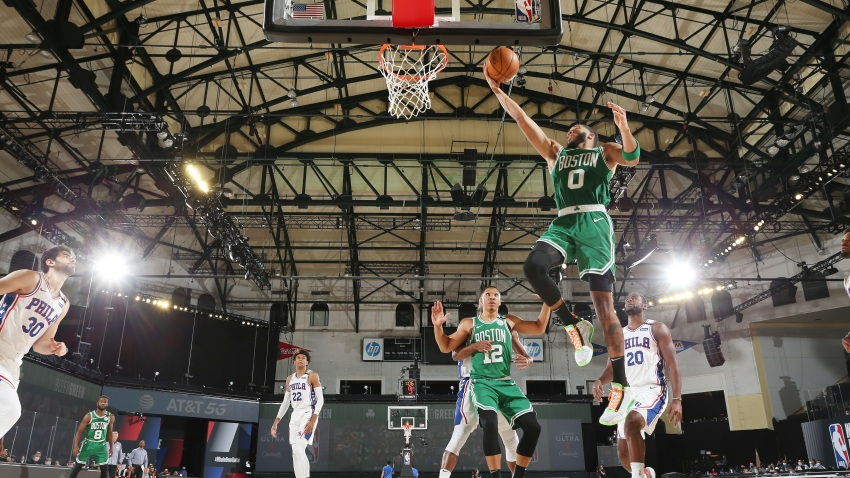 ORLANDO, FL - AUGUST 19: Jayson Tatum #0 of the Boston Celtics shoots the ball against the Philadelphia 76ers during Round One, Game 2 of the NBA Playoffs on August 19, 2020 at The Field House at ESPN Wide World of Sports in Orlando, Florida.