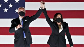 Former Vice President Joe Biden, Democratic presidential nominee, left, and Senator Kamala Harris, Democratic vice presidential nominee, wear protective masks while holding hands outside the Chase Center during the Democratic National Convention in Wilmington, Delaware, U.S., on Thursday, Aug. 20, 2020. Biden accepted the Democratic nomination to challenge President Donald Trump, urging Americans in a prime-time address to vote for new national leadership that will overcome deep U.S. political divisions.