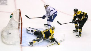 Brayden Point #21 of the Tampa Bay Lightning scores a breakaway goal past Dan Vladar #80 of the Boston Bruins during the second period in Game Three of the Eastern Conference Second Round during the 2020 NHL Stanley Cup Playoffs at Scotiabank Arena on August 26, 2020 in Toronto, Ontario.