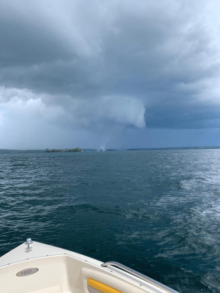 An apparent waterspout on Lake Winnipesaukee