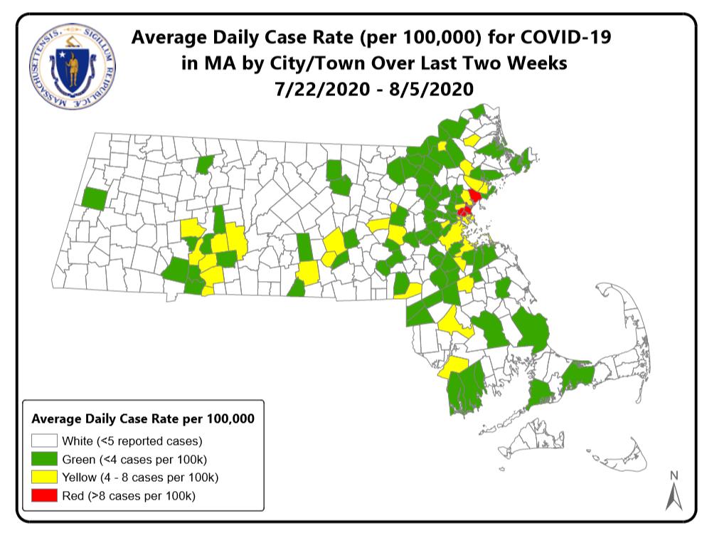 Average Daily Coronavirus Case Rate for Massachusetts