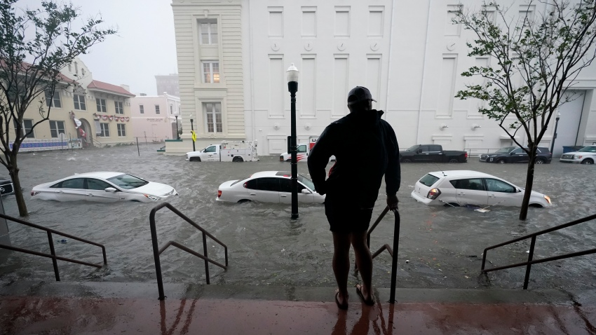 Floodwaters move on the street in Pensacola, Florida