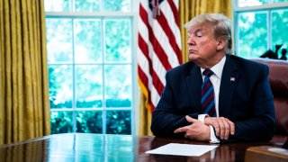 President Donald J. Trump speaks in the Oval Office as Guatemala signs a safe third country agreement to restrict asylum applications to the U.S. from Central America at the White House on Friday, July 26, 2019 in Washington, DC.