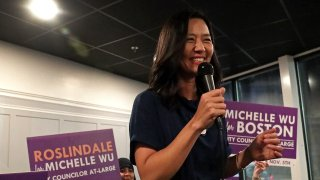 Michelle Wu at an election event in 2019