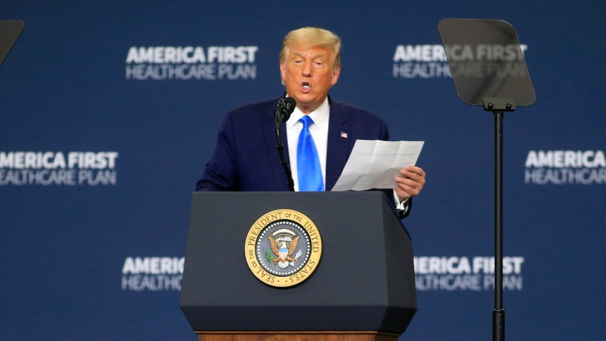 CU.S. President Donald Trump delivers remarks on his healthcare policies on September 24, 2020 in Charlotte, North Carolina. Trump's trip to North Carolina marks his fifth time in the state within the last 30 days.