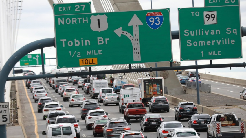 Traffic on the Zakim Bridge in Boston