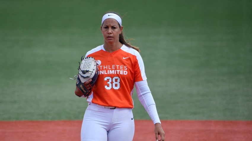 ROSEMONT, ILLINOIS - AUGUST 29: Cat Osterman #38 of Team Warren prepares to pitch in the first inning against Team Fagan at Parkway Bank Sports Complex on August 29, 2020 in Rosemont, Illinois.