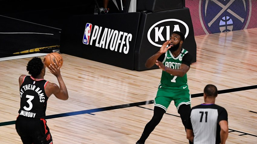 OG Anunoby #3 of the Toronto Raptors shoots the winning basket against the Boston Celtics in Game Three of the Eastern Conference Second Round during the 2020 NBA Playoffs at the Field House at the ESPN Wide World Of Sports Complex on September 03, 2020 in Lake Buena Vista, Florida.