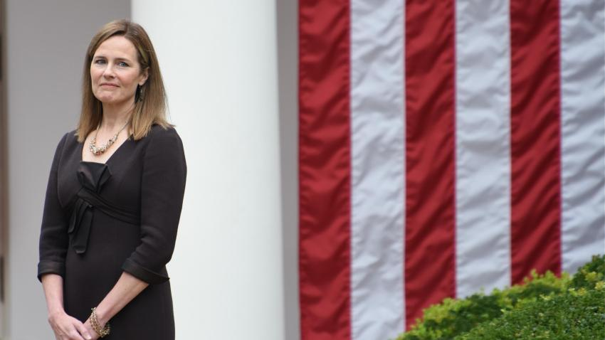 Amy Coney Barrett, U.S. President Donald Trump's nominee for associate justice of the U.S. Supreme Court, attends an announcement ceremony at the White House on September 26, 2020 in Washington, DC.