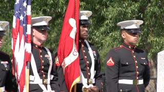 Marines at the 39th annual rededication ceremony for the South Boston Vietnam War Memorial