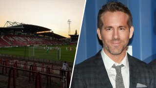 (Left) A General view of the Racecourse Ground home stadium of Wrexham AFC. (Right) Ryan Reynolds