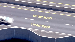 """Trump 2020"" graffiti painted on Route 44 in Massachusetts"