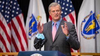 Massachusetts Gov. Charlie Baker speaks during a news conference on the state budget